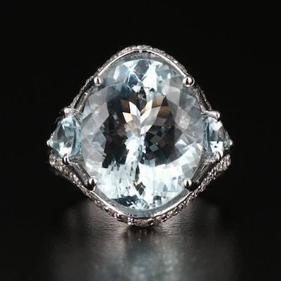 14K Gold Aquamarine and Diamond Ring with 9.84 CT Center Stone