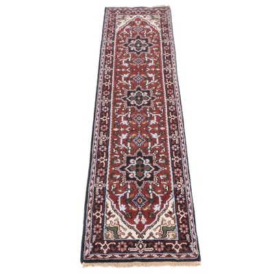 2'7 x 10'2 Hand-Knotted Indo-Persian Heriz Serapi Runner Rug, 2010s