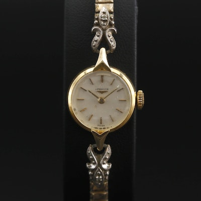 Longines 18K and Diamond Accent Stem Wind Wristwatch