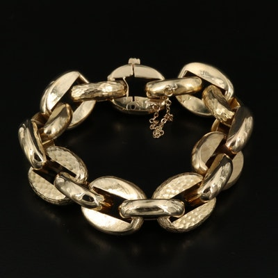 18K Cable Chain Bracelet with Textured Links