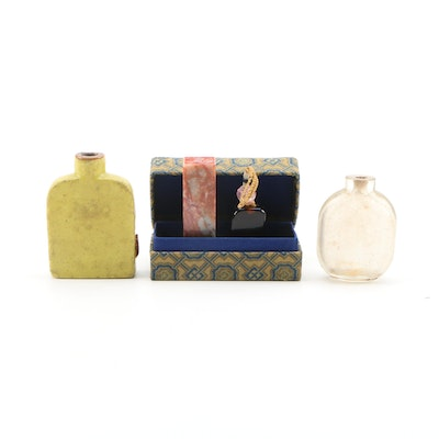 Chinese Soapstone Seal in Box with Ceramic, Glass Snuff Bottles and a Charm