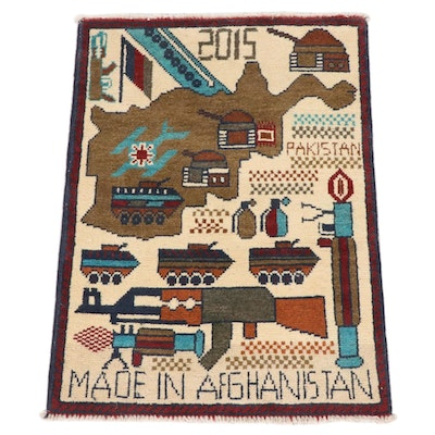 1'11 x 2'7 Hand-Knotted Afghani War Pictorial Rug