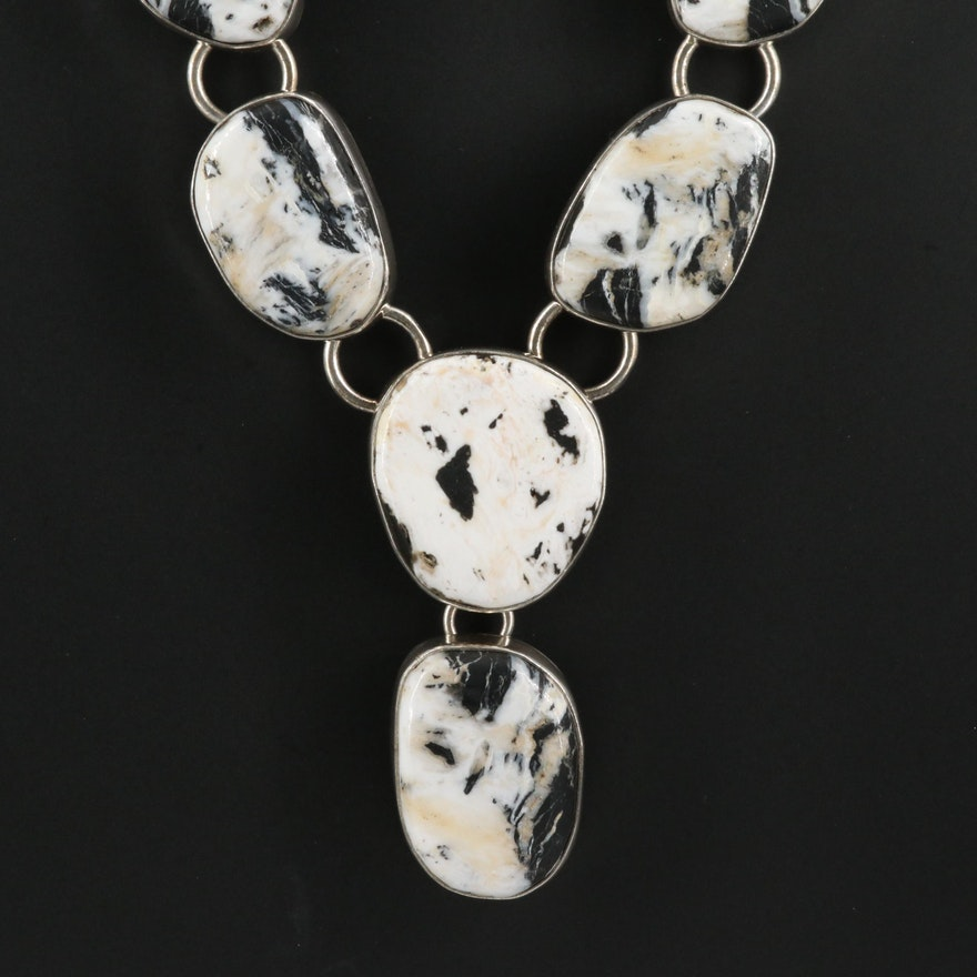 Linda Johnson Navajo Diné Sterling Agate Chain Drop Necklace