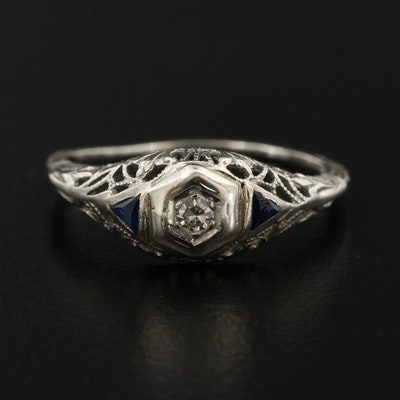 14K Gold Diamond and Sapphire Filigree Ring