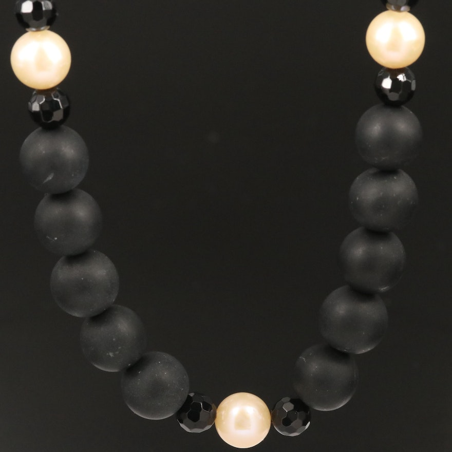 Beaded Black Onyx and Cultured Pearl Necklace with 14K Clasp
