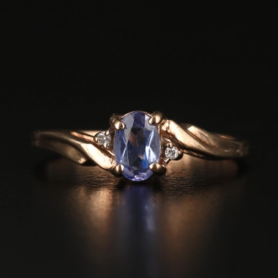 10K Tanzanite and Diamond Bypass Ring