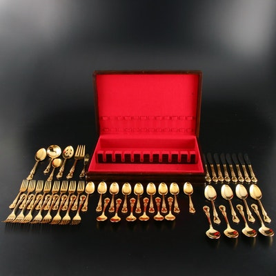 """Home Concepts Stainless Steel Gold Wash """"Versailles"""" Flatware"""