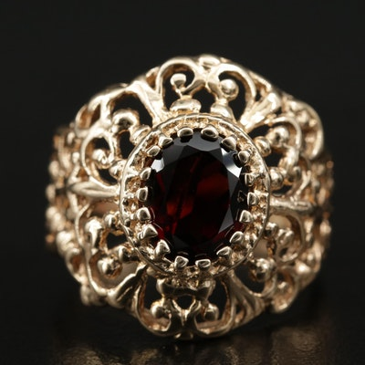 10K Garnet Openwork Ring
