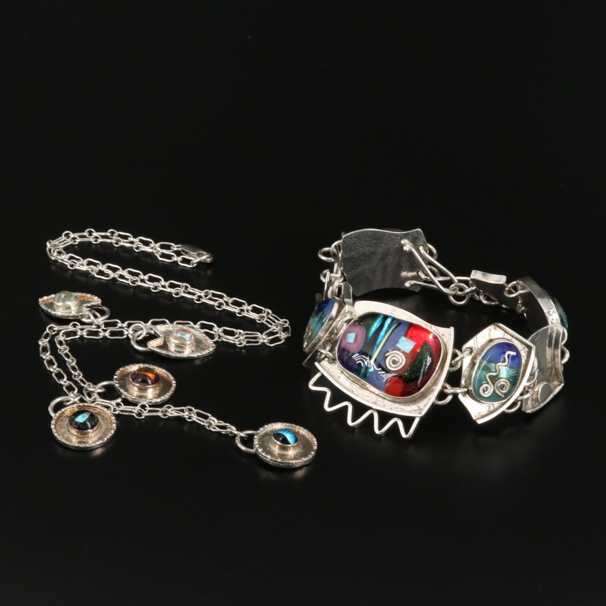 Barbara Sucherman Sterling Silver Art Glass Necklace and Bracelet