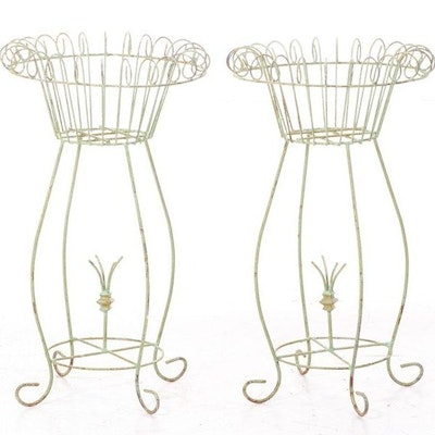 Pair of Painted Scrolled Metal Plant Stands