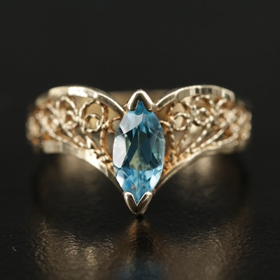 10K Topaz Filigree Chevron Ring