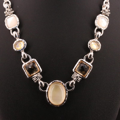 Michael Dawkins Sterling Silver Citrine and Quartz Over Mother of Pearl Necklace