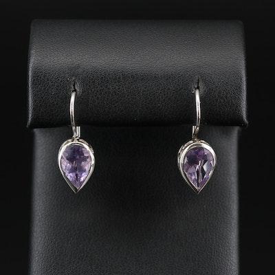 Sterling Silver and Amethyst Filigree Drop Earrings