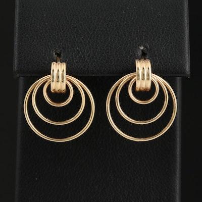 14K Triple Hoop Button Earrings