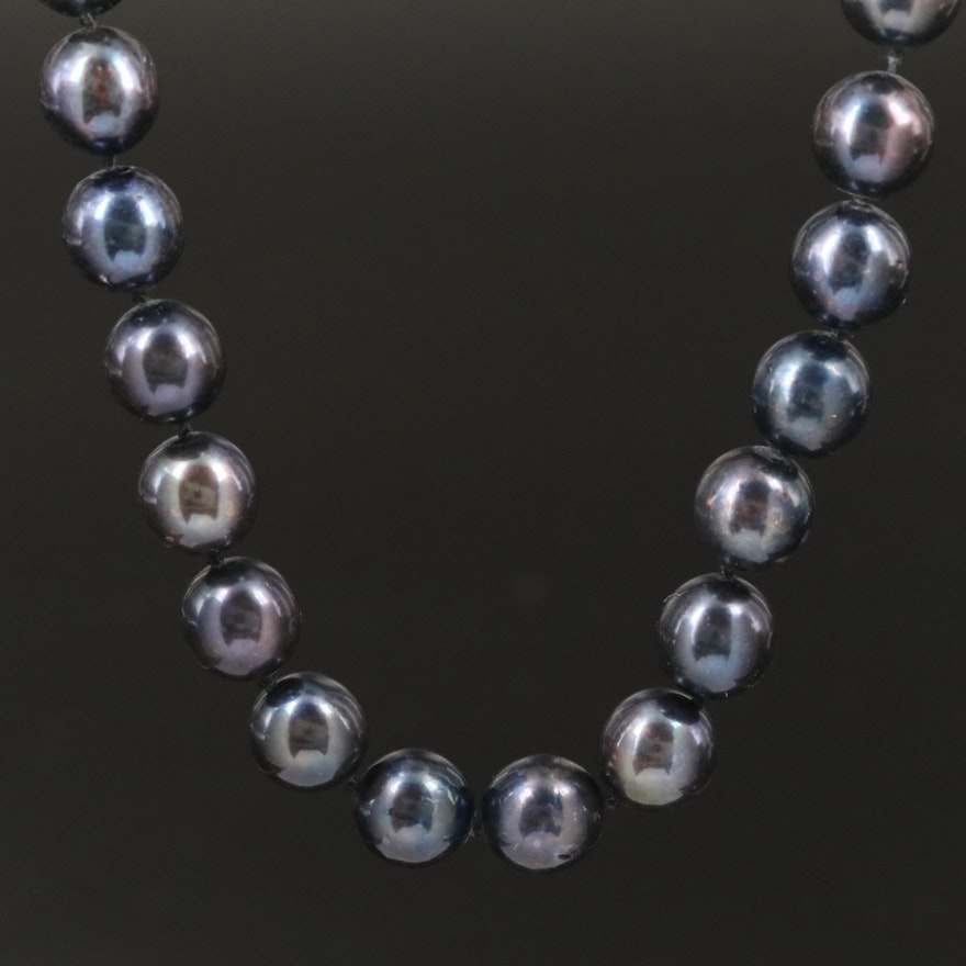 Purplish Black Pearl Necklace with 14K Clasp