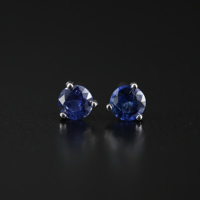 14K Sapphire Martini Set Stud Earrings