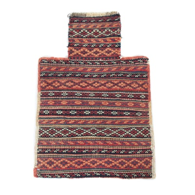 1'5 x 2'2 Handwoven Persian Kurdish Soumak Salt Bag, 1920s