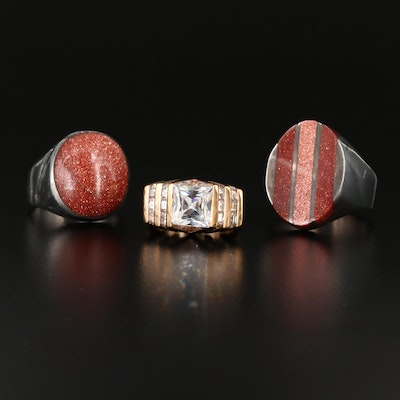 Assortment of Sterling Rings with Cubic Zirconia and Goldstone Glass