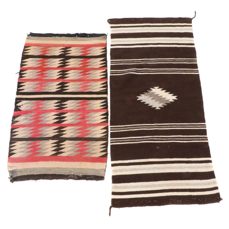 Handwoven Southwestern Style Wool Textile Panels or Throw Rugs, Vintage