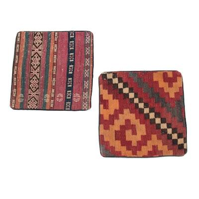 Handmade Persian Kurdish Rug-Fronted Pillow Covers, 1980s