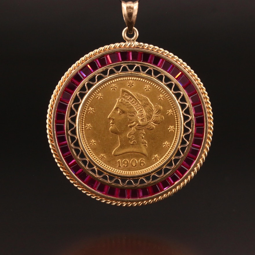 1906-D Liberty Head Gold Eagle Coin Pendant with 14K Frame and Ruby Accents