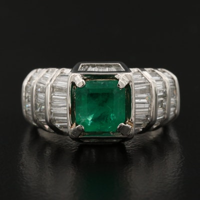 Platinum 1.03 CT Emerald and 1.56 CTW Diamond Ring