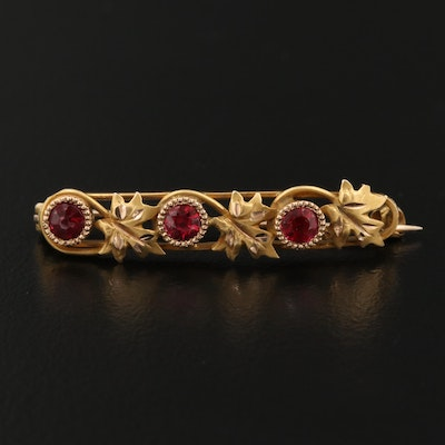 Circa 1915 10K Garnet and Glass Doublet Foliate Brooch
