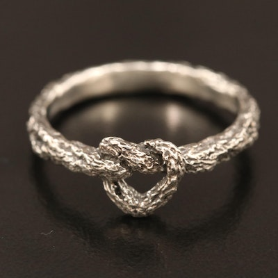 Brutalist Sterling Silver Heart Motif Ring