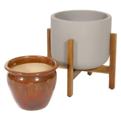 Drip Glaze and Other Earthenware Planter with Wooden Stand