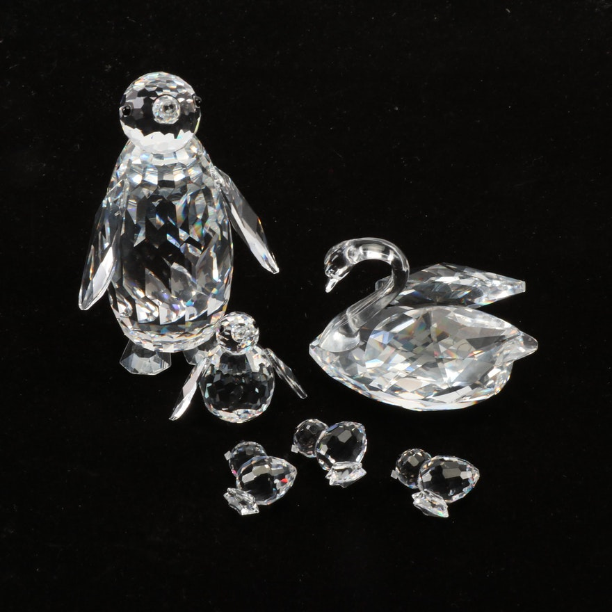 Swarovski Silver Crystal Penguin, Swan and Chick Figurines