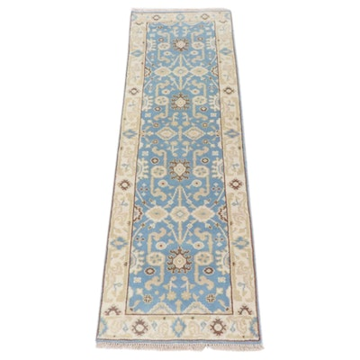 2'6 x 8'1 Hand-Knotted Indo-Turkish Oushak Runner Rug, 2010s
