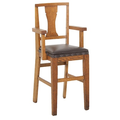 Arts and Crafts Style Child's Oak High Chair, Mid-20th Century