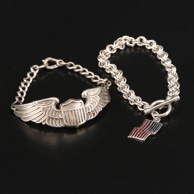 WW II U.S. Army Air Force Pilot and Double Rolo Link U.S. Flag Charm Bracelet