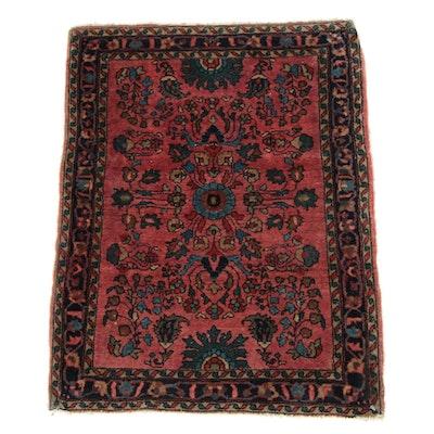 1'11 x 2'7 Hand-Knotted Persian Farahan Sarouk Rug, 1920s