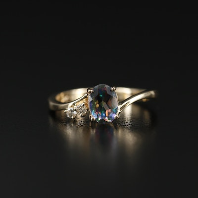 14K Gold Mystic Topaz and Diamond Ring