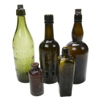 Antique Avocado Green and Amber Spirit Bottles and More
