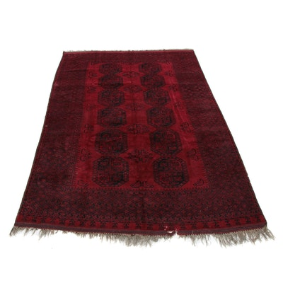 8'2 x 12'10 Hand-Knotted Afghani Turkoman Room Sized Rug, 1960s