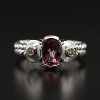 14K Tourmaline and Diamond Braided Pattern Ring