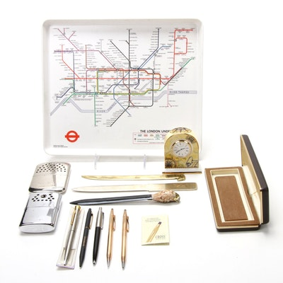 "Paul E. Garbutt ""The London Underground"" Tray, Vintage Pens and More"