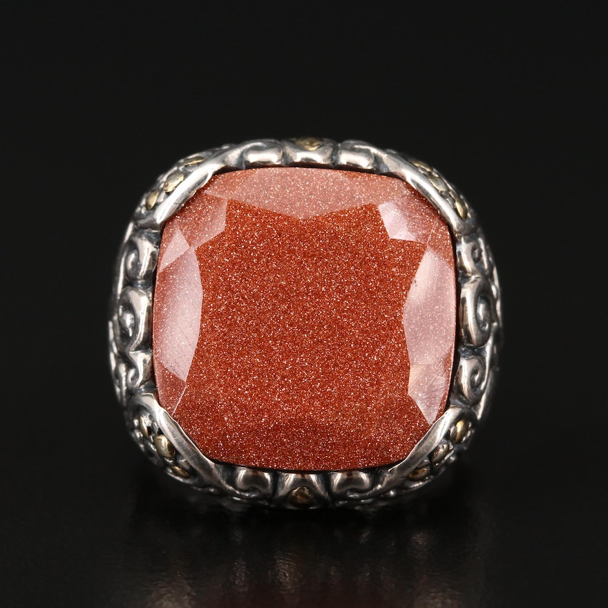 Robert Manse Sterling Goldstone Ring with 18K Accents