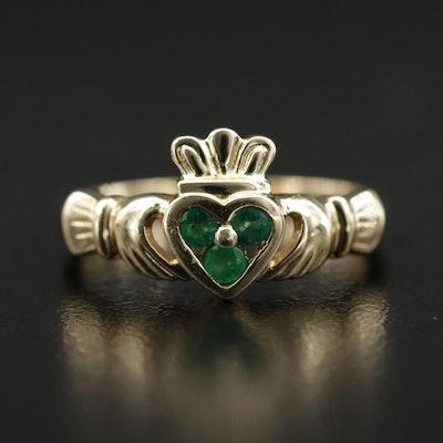14K Emerald Claddagh Ring
