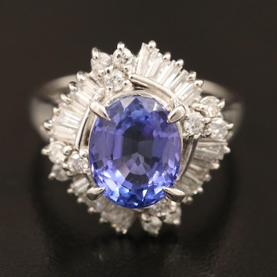 Platinum 3.21 CT Tanzanite and Diamond Ring