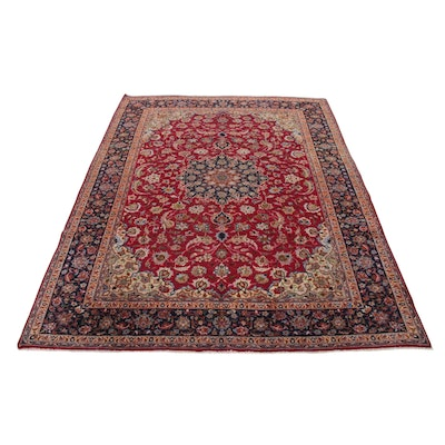 9'9 x 12'11 Hand-Knotted Persian Isfahan Room Sized Rug, 1970s