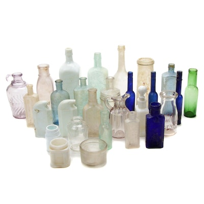 Antique Medicinal, Tonic, Snuff and Other Glass Apothecary Bottles