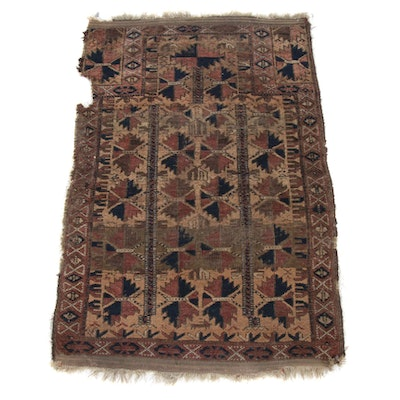 2'4 x 3'9 Hand-Knotted Persian Baluch Rug, 1890s