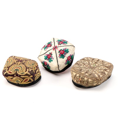 Central Asian Velvet Trimmed Embellished Hats Including Goldwork and Embroidery