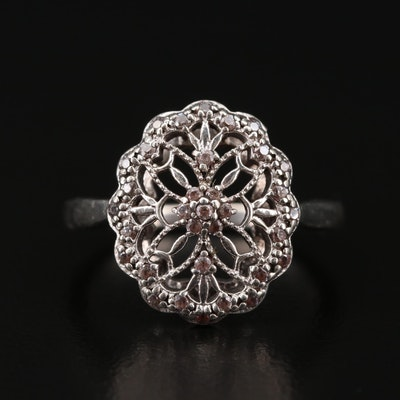 Sterling Silver Cubic Zirconia Openwork Ring