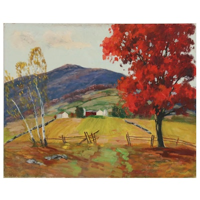 Oil Painting of Pastoral Landscape in Autumn