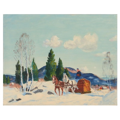 Oil Painting of Winter Scene with Horse-Drawn Sleigh