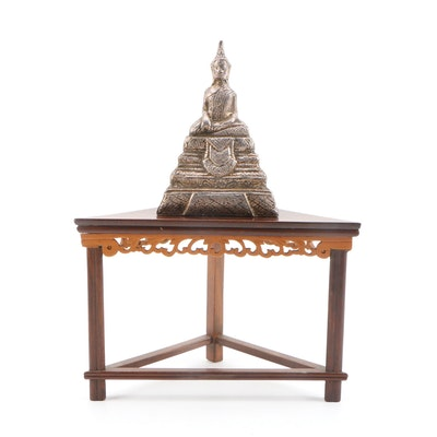 Tibetian Buddha Metal Figural on Miniature Wooden Dias, Late 20th Century